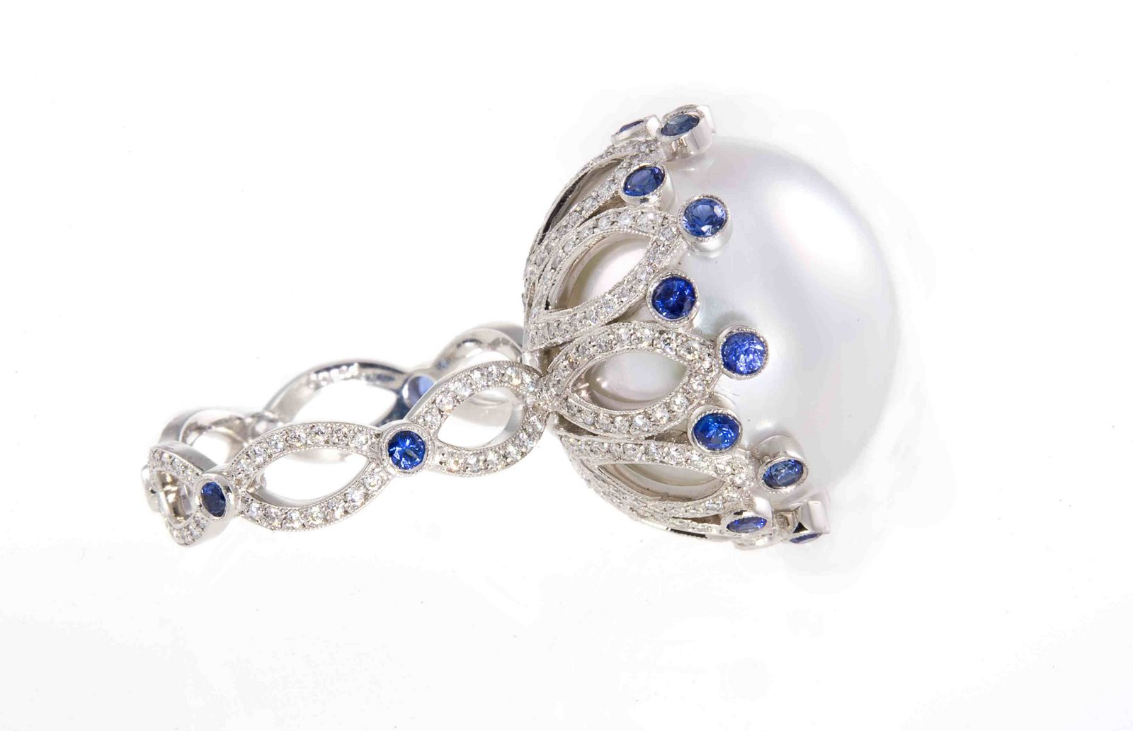 Erica Courtney Platinum, Pearl And Diamond Ring With Sapphire Claw Setting