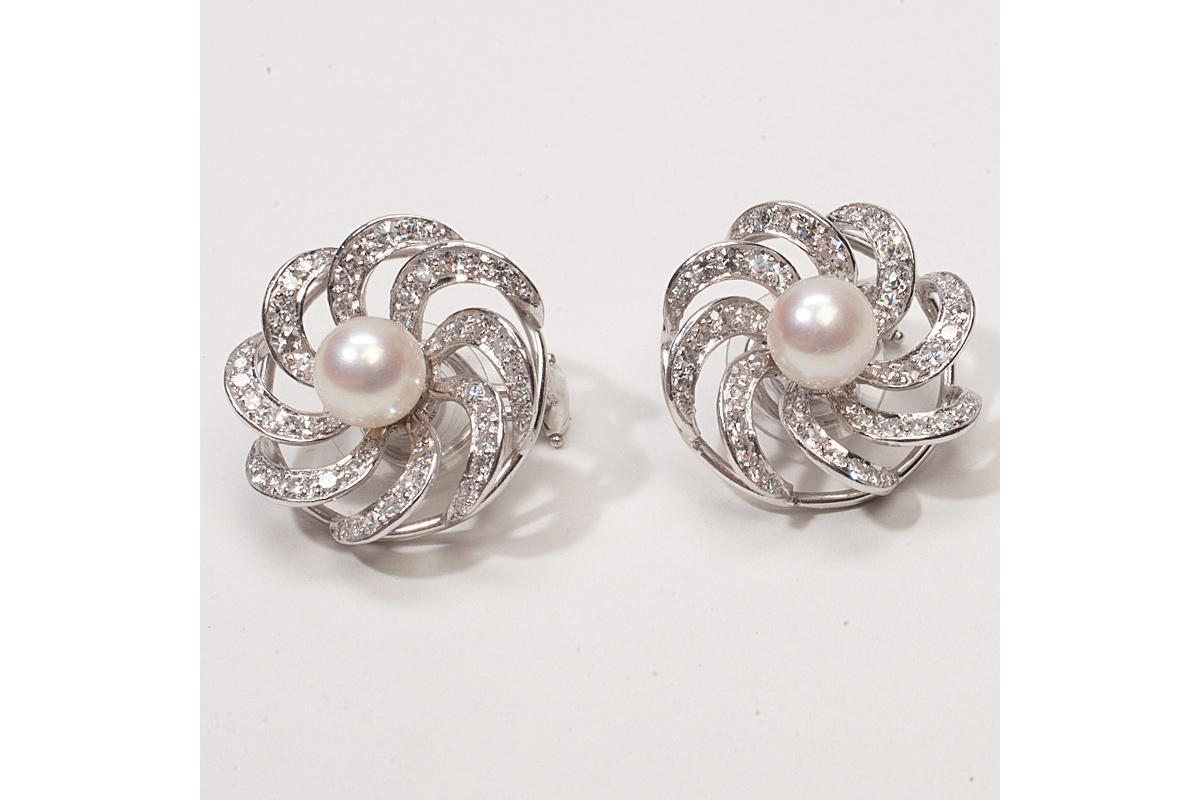 Vintage Platinum Diamond Pearl Stud Earrings Jackets · Vintage